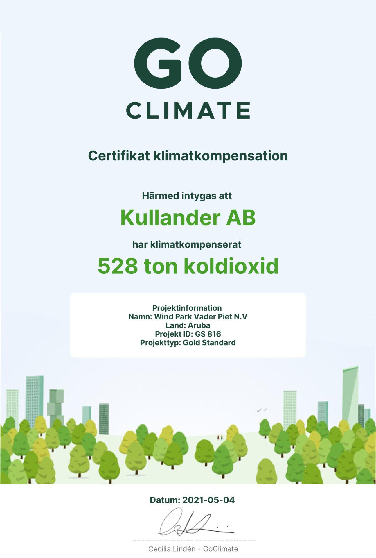 Go climate certifkat 2021